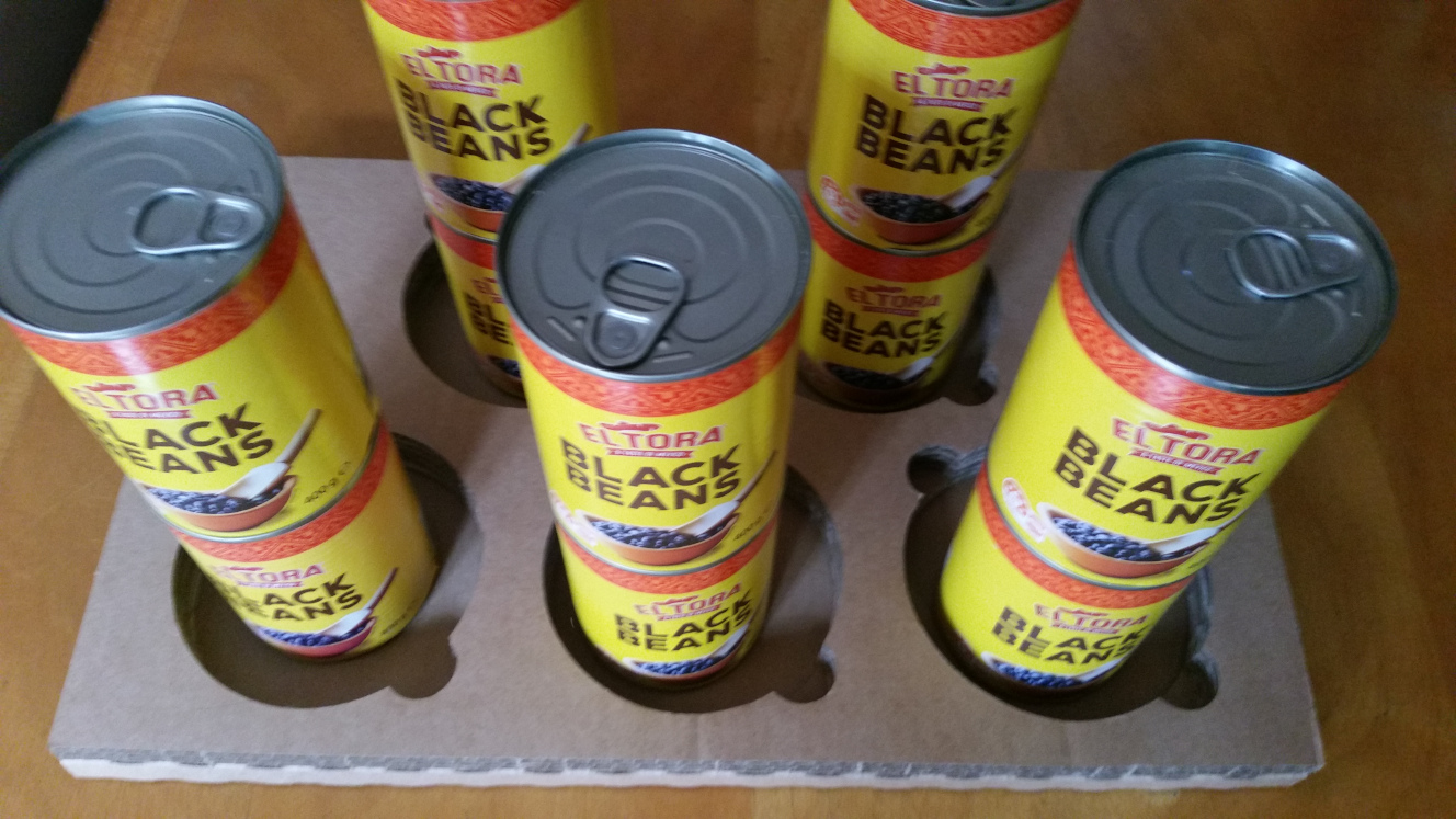 Canned black beans stacked two high