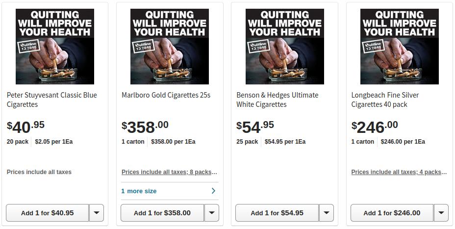 Australian cigarette prices Feb 2021