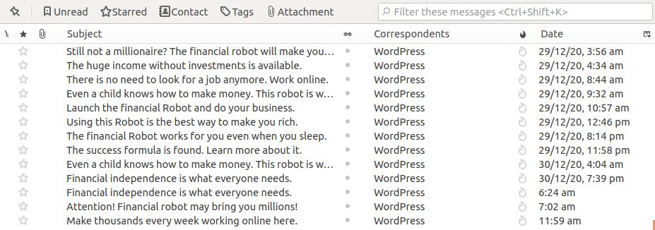 Financial spam emails screenshot