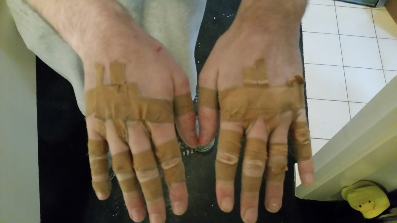 Taped hands
