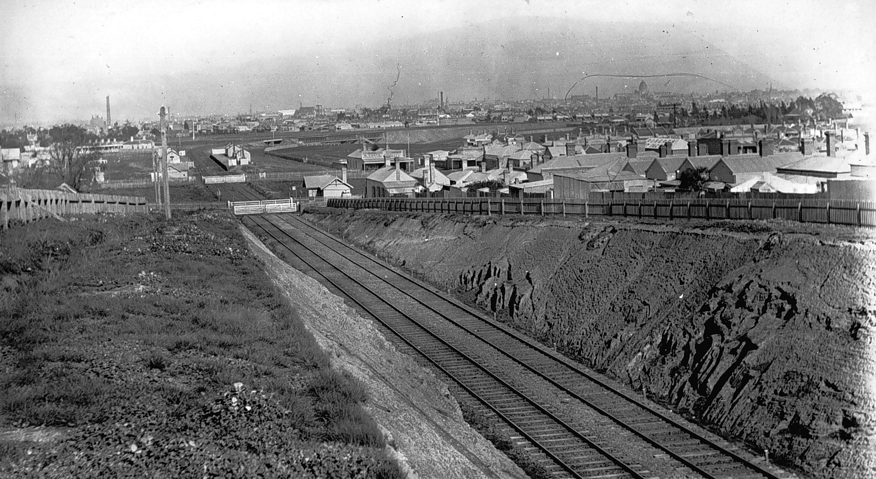View of Railway Cutting, Northcote, Victoria, 1892. Photo taken facing southwards